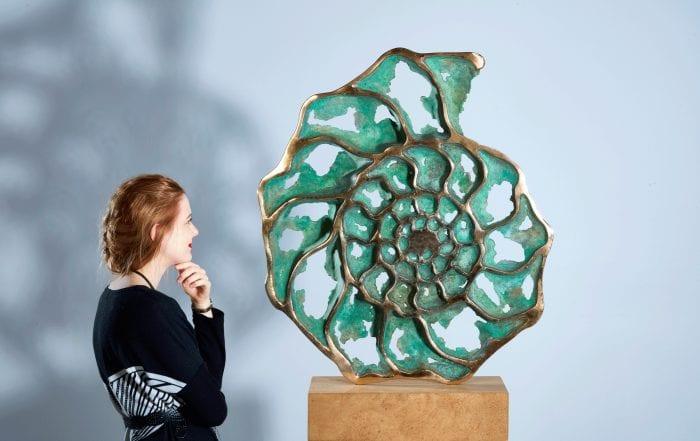 Ammonite slice inside - Bronze by sculptor Mark Reed